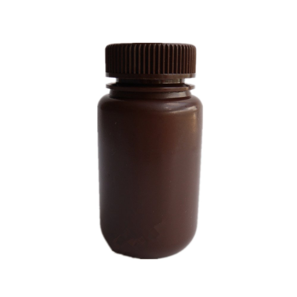 Aibelong Laboratory 125ML Amber HDPE Plastic Reagent Bottle with Wide Mouth (Pack of 46PCS)