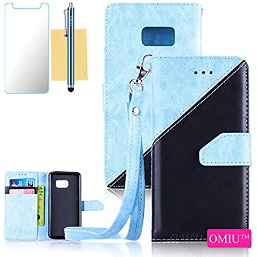Galaxy S7 Case,S7 Case,OMIU(TM) Premium PU Leather Stitching Fabric Patterns Design Card Slots Stand Wallet Case for Samsung Galaxy S7-(Light Blue+Black) Sales