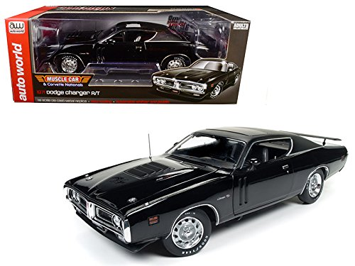 Ltd Sunroof (1971 Dodge Charger R/T TX9 Black on Black Hardtop with Sunroof MCACN Limited Edition to 1002pc 1/18 Diecast Model Car by Auto World AMM1107)