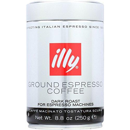 Illy Caffe Coffee Coffee - Espresso - Ground - Dark Roast - 8.8 oz - case of 6 - Gluten Free - Yeast Free - Wheat Free