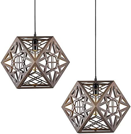 Pendant Lighting Fixtures Pack of 2-VICNIE 15.7 inches Metal Chandelier Industrial Hanging Light Fixture, Oil Rubbed Bronze Finished with Adjustable Height 2PK