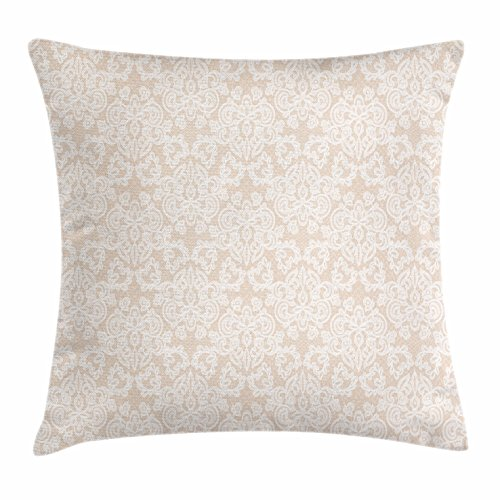 Lunarable Cream Throw Pillow Cushion Cover, Wedding Inspired Symmetrical Design White Lace Style Background Pattern Damask Vintage, Decorative Accent Pillow Case, 26 W X 16 L inches, Tan White (Pillow Lace Toss)