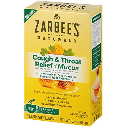 Zarbee's Naturals Cough & Throat Relief + Mucus Daytime Drink Mix with Dark Honey, Vitamin C, D, B-Complex, Zinc, and Real Elderberry, Natural Lemon Flavor, 6 Packets