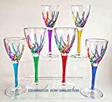 CORDIAL GLASSES -''VENETIAN CARNEVALE'' CORDIAL GLASS SET OF SIX - HAND PAINTED CRYSTAL