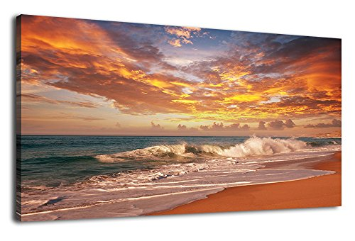 Ocean Beach Scene - Wall Art Beach Sunset for Living Room Decoration Ocean Waves Canvas Art for Bedroom Wall Decor Large Coast Scenes Nature Pictures Seascape Artwork Flaming Clouds Red Sky Sands Beach 20