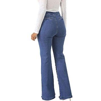 RXF Micro-Cuerno Pantalones Vaqueros Largos Mujer Cintura ...