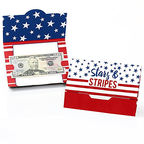 Stars & Stripes - 4th of July USA Patriotic Independence Day Party Money and Gift Card Holders - Set of 8