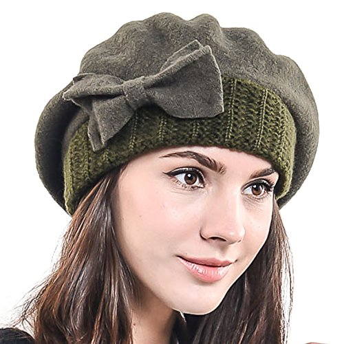 Lady French Beret Wool Beret Chic Beanie Winter Hat Jf-br034 (HY022-Green)
