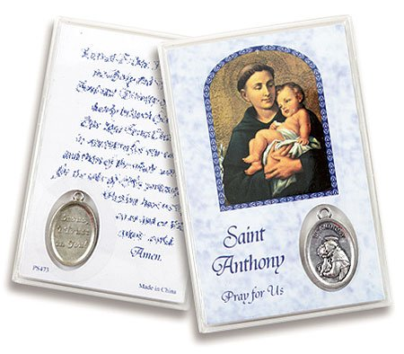 - Saint Anthony San Antonio Devotional Holy Card with Silver Oxidized Medal Blessed by His Holiness