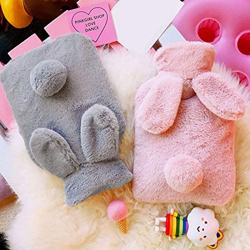0.4L Shuda Cute Rabbit Ears Soft Hot Water Bottle Keep Warm Relief The Pain and Comfort for Family Lover and Friends Warm Gift