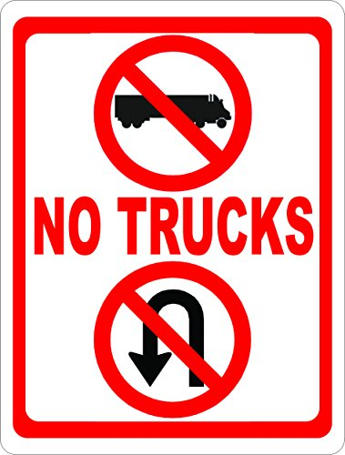 [No Trucks No U Turns Sign. Prevent Truck U-Turns. 12x18 Metal. Made in USA] (Prevent Signs)