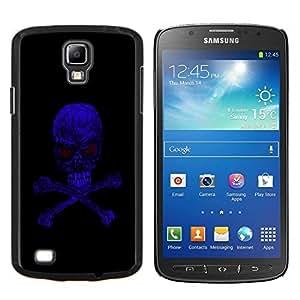 EJOOY---Cubierta de la caja de protección para la piel dura ** Samsung Galaxy S4 Active i9295 ** --Azul Skull Evil