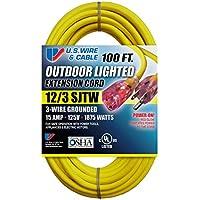 US Wire 74100 12/3 100-Feet SJTW Yellow Heavy-Duty...