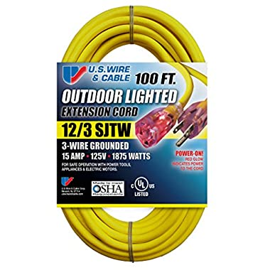 US Wire 74100 12/3 100-Feet SJTW Yellow Heavy-Duty Lighted Extension Cord