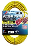 extension cord 100 ft - US Wire 74100 12/3 100-Feet SJTW Yellow Heavy-Duty Lighted Extension Cord