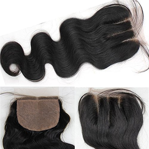 """JK Hair Brazilian Virgin Human Hair 3 Part Body Wave Lace Closure,Bleached Knots Top Lace Closure with Baby Hair Size 4""""4"""" Naturl Black 8""""Inch"""