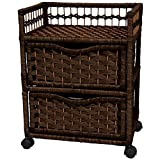 ORIENTAL FURNITURE 23'' Natural Fiber Chest of Drawers on Wheels - Mocha