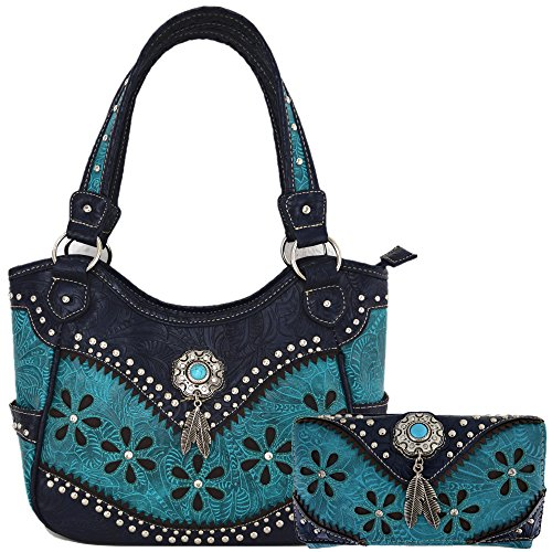 Western Style Leather Shoulder Bag (Tooled Leather Concealed Carry Purse Concho Feather Western Country Women Handbag Shoulder Bag Wallet Set (Turquoise Set))