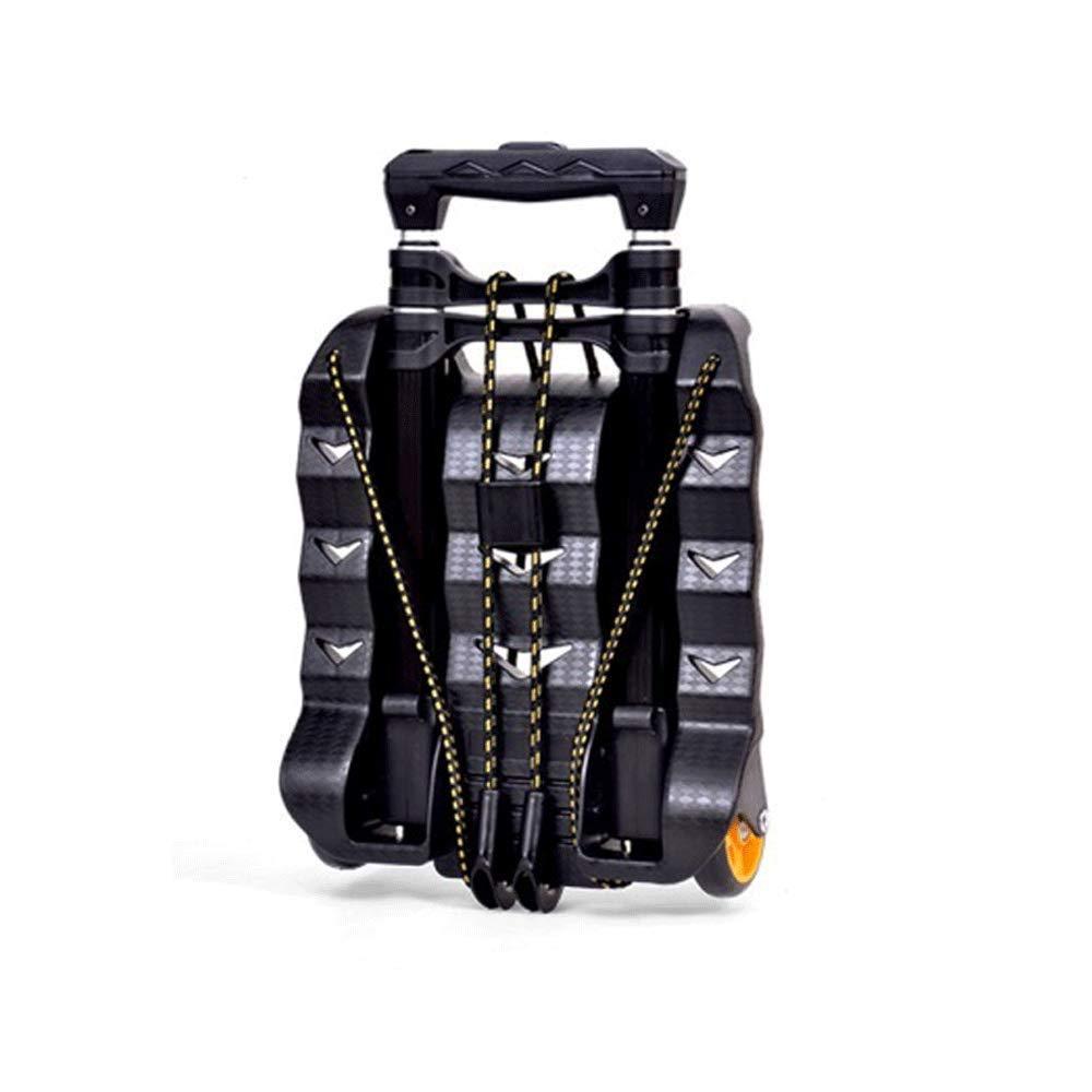アルミニウム合金トロリー、ショッピングカート、トロリー、折りたたみ式、ポータブルトラベルトレーラーポータブルショッピングカート (色 : 黒) B07K9DMXVY 黒