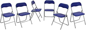 Folding Chairs with Upholstered Seat Back with Metal Frame Casual Office Training Chairs (6)
