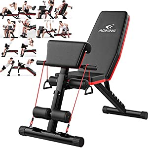 Ziloco Home Gym Adjustable Weight Bench Foldable Workout Bench, Adjustable Sit Up AB Incline Abs Bench with Fitness Rope for Full Body Exercise