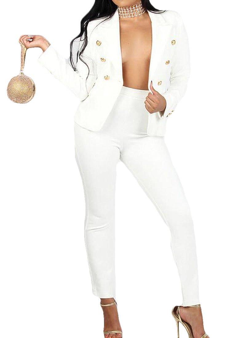 KLJR Women Plus Size Double-Breasted Blazer Jacket Pants Tracksuit Set
