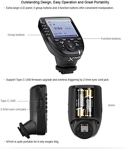 Godox XPro-S for Sony TTL Wireless Flash Transmitter Trigger 1//8000s HSS TTL-Convert-Manual Function Large LCD Screen Slanted Design 11 Customizable Functions