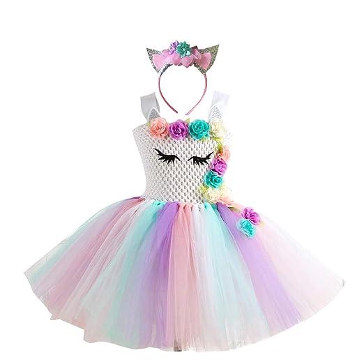 e9e9ccc6f507b Amazon.com: Girls Unicorn Costume Pageant Flower Princess Party ...