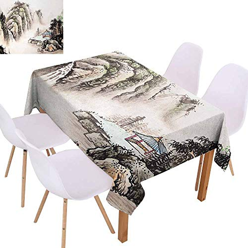 UHOO2018 Ancient China,Polyester Fabric Tablecloth,Chinese Landscape of Watercolor Painting Marquee in Valley Trees Sumi Style,for Family Gathering Party,Multicolor,60