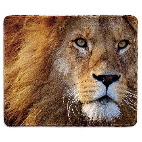 dealzEpic – Wild Animal Art Mousepad – Natural Rubber Mouse Pad Printed with Close up of a Male Lion – Stitched Edges…