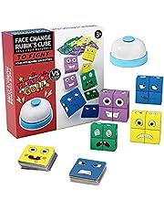 Houten uitdrukkingen speelgoed, houten magische kubus gezicht patroon bouwstenen educatief Montessori speelgoed, 16 stuks hout puzzel en 64 kaarten, doe-het-zelf speelgoed interessant cadeau