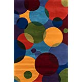 "Momeni Rugs NEWWANW-37MTI3656 New Wave Collection, 100% Wool Hand Carved & Tufted Contemporary Area Rug, 3'6"" x 5'6"", Multicolor"