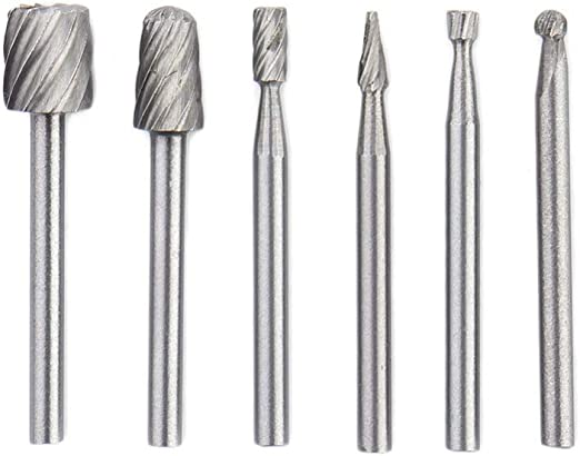 6 Pcs Rotary Tool Mini Drill Bit Set Wood Carving DIY Tools Kit for Woodworking
