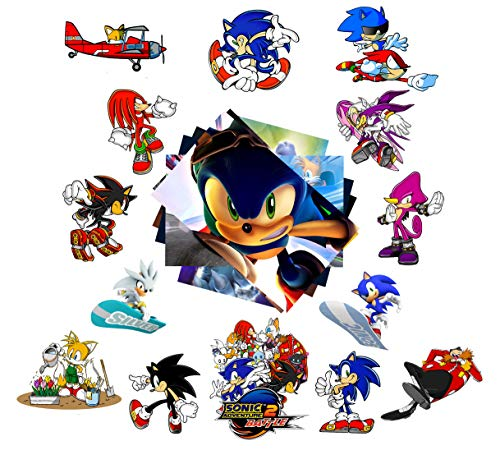 Sonic The Hedgehog Stickers Pack B# 20-Pcs, GTOTd Vinyl Waterproof Colorful Stickers for Car, Laptop, Luggage, Skate Board, Motorcycle, Bicycle Decal Graffiti Patches (Not Random)