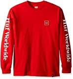 HUF Men's Domestic Long Sleeve Tee, Red, Medium offers
