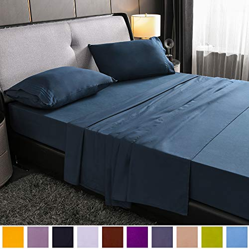 """SAKIAO Full Size Bed Sheets Set - Brushed Microfiber 1800 Bedding - 16"""" Deep Pocket Wrinkle Free & Fade Resistant - Sheet Set with 3-Line Embroidery - 4 Piece (Navy Blue,Full)"""