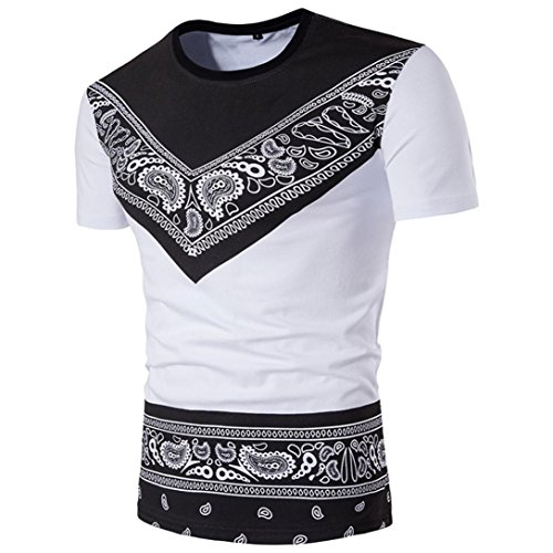 iLXHD Fashion Men's Summer Ethnic Style African Print T-Shirt Top Blouse ()