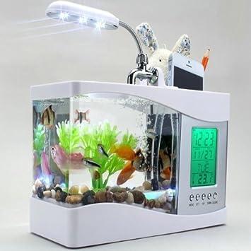 Generic Mini USB LCD escritorio lámpara de luz Fish Tank Acuario reloj LED blanco: Amazon.es: Oficina y papelería