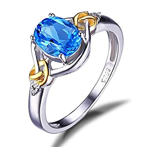 JewelryPalace Love Knot 1.5ct Natural Swiss Blue Topaz Diamond 925 Sterling Silver 18K Yellow Gold Ring Size 7