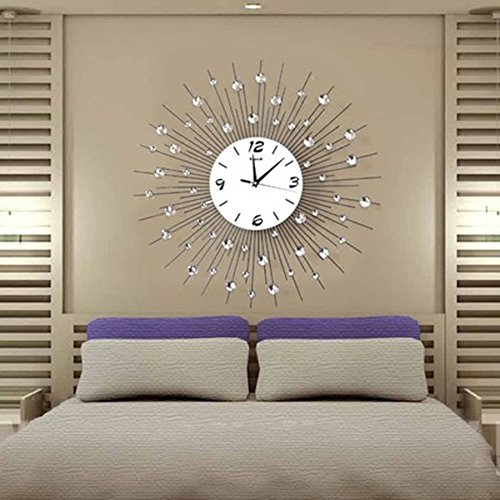 Diamond Outdoor Clock - ALUS- Creative Wall Clock Crafts Living Room Wall Clocks Personalized Decorative Diamonds Clocks Round Modern Silent Fashion Bedroom Clocks