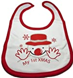 My First Xmas Baby Bib with Smiling Snowman Print