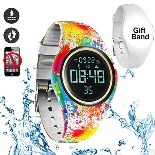 3D Non-Bluetooth Pedometer Watch Sport Wristband IP68 Swimming Water-resistant Fitness Tracker with Accurately Track Steps/Distance/Calorie/Clock/Timer for Walking Running Kids Men Women