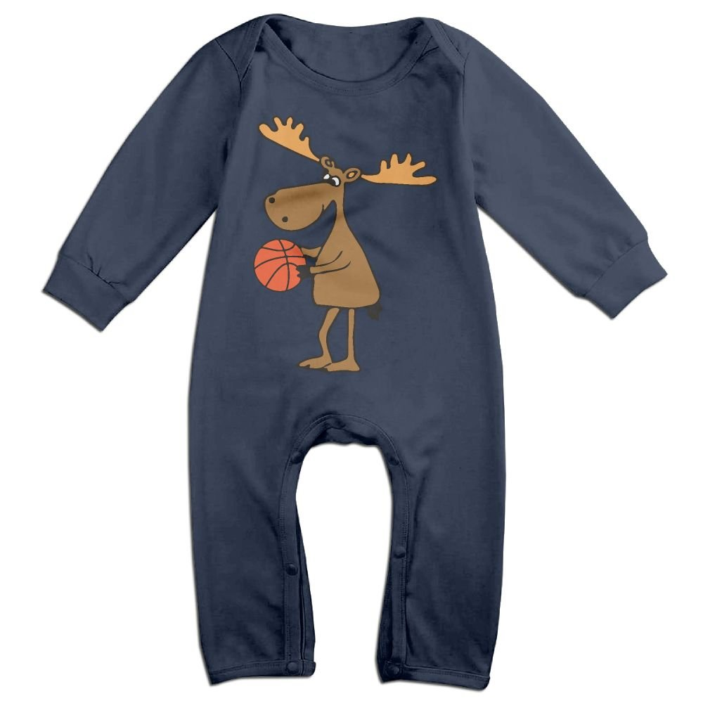 Mri-le1 Baby Girl Coverall Funny Moose Playing Basketball Baby Clothes