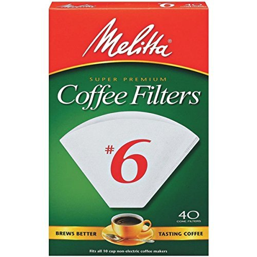 Melitta Cone Coffee Filters, White, No. 6, 40-Count Filters Pack of 2 (80 Filters Total) by Melitta