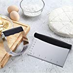 Dough Blender | Stainless Steel Pastry Cutter Set, Pastry Blender + Dough Scraper + Pastry Brush, Professional Dough Cutter/Blender Scraper/Pastry Brush Set for Kitchen Baking Tools 13 THE STAINLESS STEEL DOUGH BLENDER: The pastry blender will NOT break, bend or rust. Sturdy and durable metal blades will make you amazed at how quickly this pastry tool works to get uniform pieces of butter mixed in flour. This dough cutter can not only chop fruit and soft vegetables or nuts, but also mash up baby food, make salsa, guacamole and muffin topping etc..Comfortable soft grip handle won't make you tired after using it. It is much safer than plastic and easy on those with arthritis. BENCH SCRAPER OF PASTRY SET: Together with the dough blender, dough scraper make baking get easier. The dough blender expertly combines your ingredients while the bench scraper helps you scrape, measure, cut and even transfer dough. They are the perfect pair. The pastry cutter is useful to cut even brownies, cut dough for pastries/cinnamon rolls/dinner rolls/pizza/pasta and cookies, scoop up chopped vegetables or herbs to transfer to a pot, clean counters of crumbs and dried dough. PASTRY BRUSH: Made of 100% FDA approved Stainless Steel and Silicon. 100% Bristle-free. Heat resistant up to 500⁰F. Long enough to avoid burns from hot oil during on barbecue. Good choice for toast, jam, honey, pastry, condensed milk, breakfast, birthday party, outdoor BBQ grill, roast. This basting brush will not melt, warp, discolor, or shrink like regular plastic or wooden brushes. The bristles will not break or shed in your food like old brushes. Safe and durable.