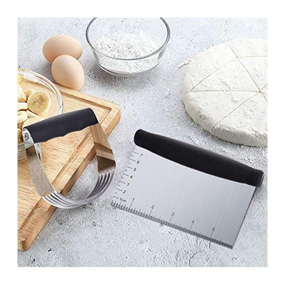 Dough Blender | Stainless Steel Pastry Cutter Set, Pastry Blender + Dough Scraper + Pastry Brush, Professional Dough Cutter/Blender Scraper/Pastry Brush Set for Kitchen Baking Tools 6 THE STAINLESS STEEL DOUGH BLENDER: The pastry blender will NOT break, bend or rust. Sturdy and durable metal blades will make you amazed at how quickly this pastry tool works to get uniform pieces of butter mixed in flour. This dough cutter can not only chop fruit and soft vegetables or nuts, but also mash up baby food, make salsa, guacamole and muffin topping etc..Comfortable soft grip handle won't make you tired after using it. It is much safer than plastic and easy on those with arthritis. BENCH SCRAPER OF PASTRY SET: Together with the dough blender, dough scraper make baking get easier. The dough blender expertly combines your ingredients while the bench scraper helps you scrape, measure, cut and even transfer dough. They are the perfect pair. The pastry cutter is useful to cut even brownies, cut dough for pastries/cinnamon rolls/dinner rolls/pizza/pasta and cookies, scoop up chopped vegetables or herbs to transfer to a pot, clean counters of crumbs and dried dough. PASTRY BRUSH: Made of 100% FDA approved Stainless Steel and Silicon. 100% Bristle-free. Heat resistant up to 500⁰F. Long enough to avoid burns from hot oil during on barbecue. Good choice for toast, jam, honey, pastry, condensed milk, breakfast, birthday party, outdoor BBQ grill, roast. This basting brush will not melt, warp, discolor, or shrink like regular plastic or wooden brushes. The bristles will not break or shed in your food like old brushes. Safe and durable.