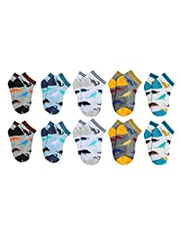 CHUNG Toddler Boys 10 Pack Cotton Low Cut Socks Dinosaur Prints 2-9 Years
