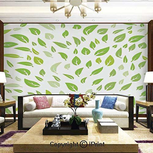 Lionpapa_mural Removable Wall Mural Ideal to Decorate Bedroom,or Office,Various Green Spring Leaves Illustration with Lined Patterns Garden Summer Graphic Design,Home Decor - 66x96 inches ()