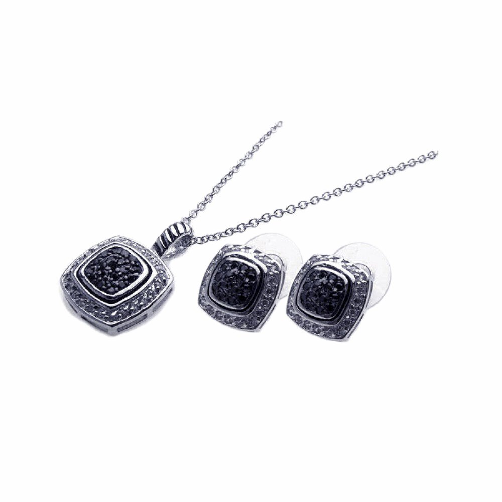 2 Ext. Sterling Silver CZ Black /& Clear Square Stud Earring /& Necklace Set 16