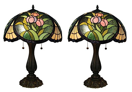 Tiffany Style Stained Glass Tulips L Table Lamp Shade